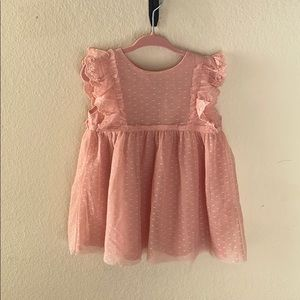 Pink soft lace and tool dress